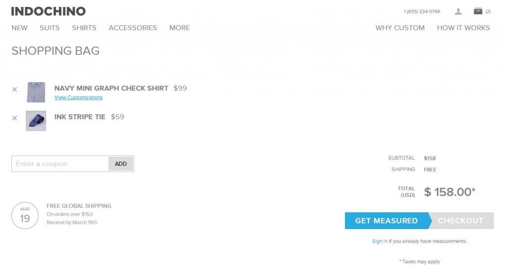 indochino checkout page.