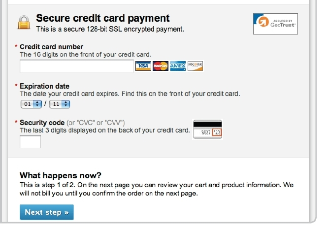 example of secure form for credit card entry.