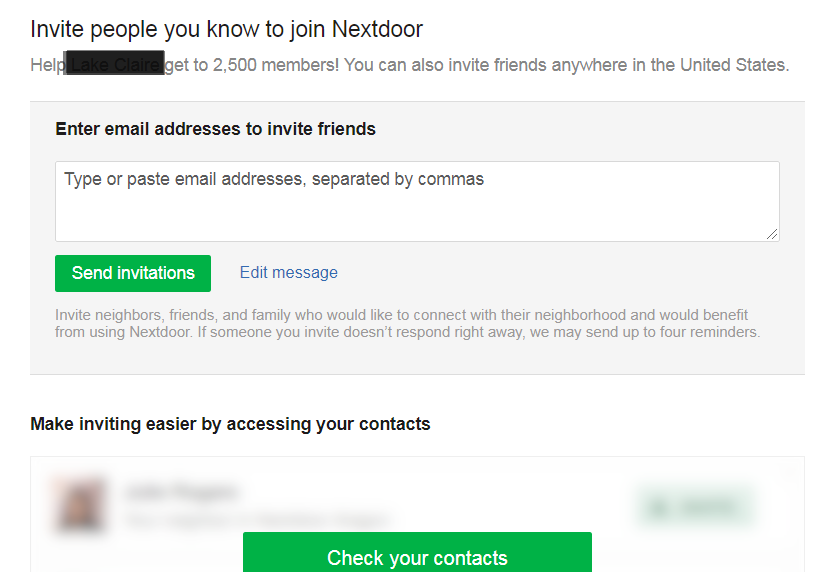 inviting neighbors via nextdoor.