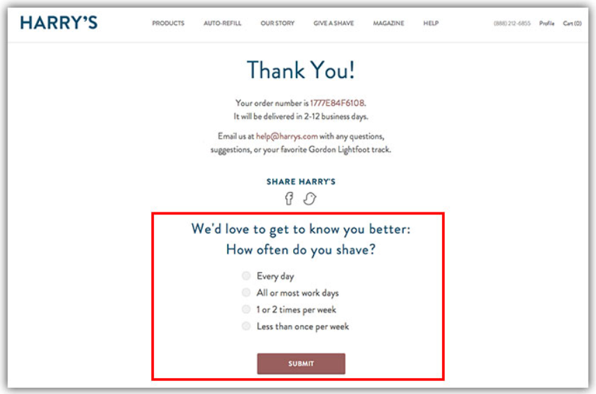 example of thank you page with a survey.