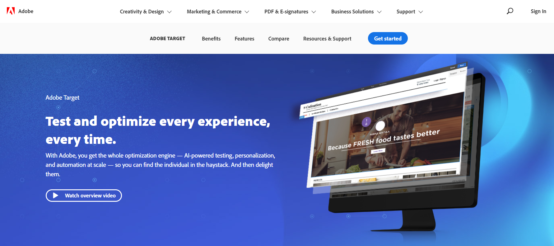 adobe target homepage.