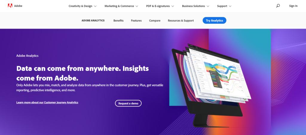 adobe analytics homepage.