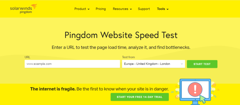 pingdom website speed test homepage.