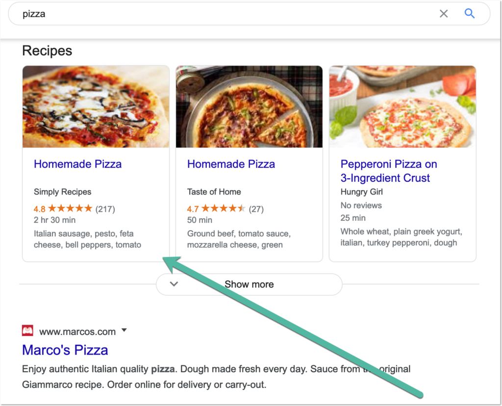 example of recipe carousel for food query.