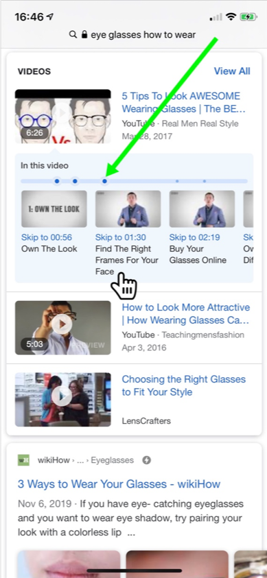 example of video carousel and specific clickable moments.