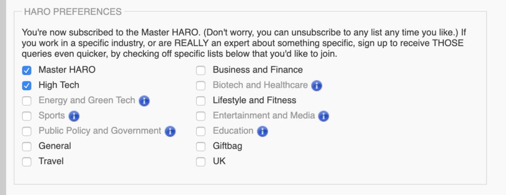 selecting haro categories.