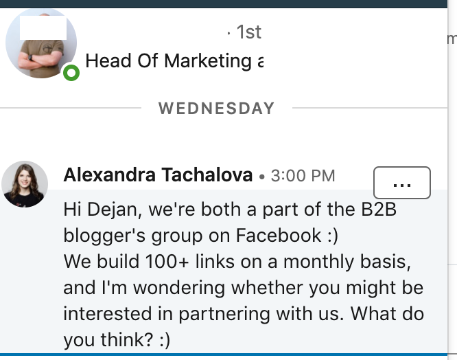 example of linkedin outreach.