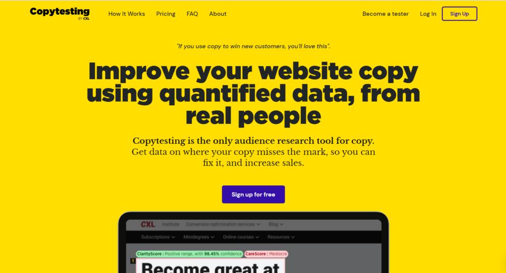 copytesting homepage.