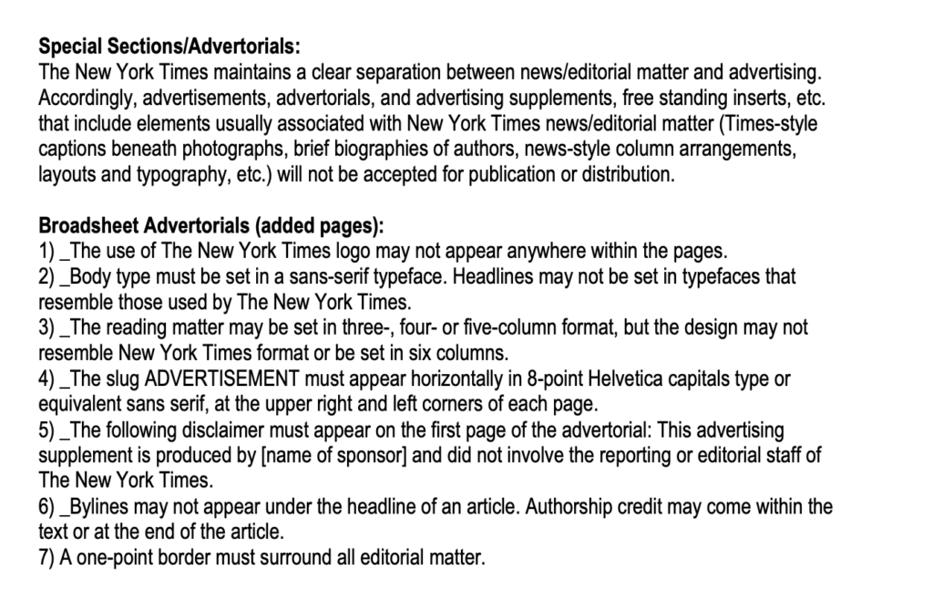 nytimes guidelines for advertorials.