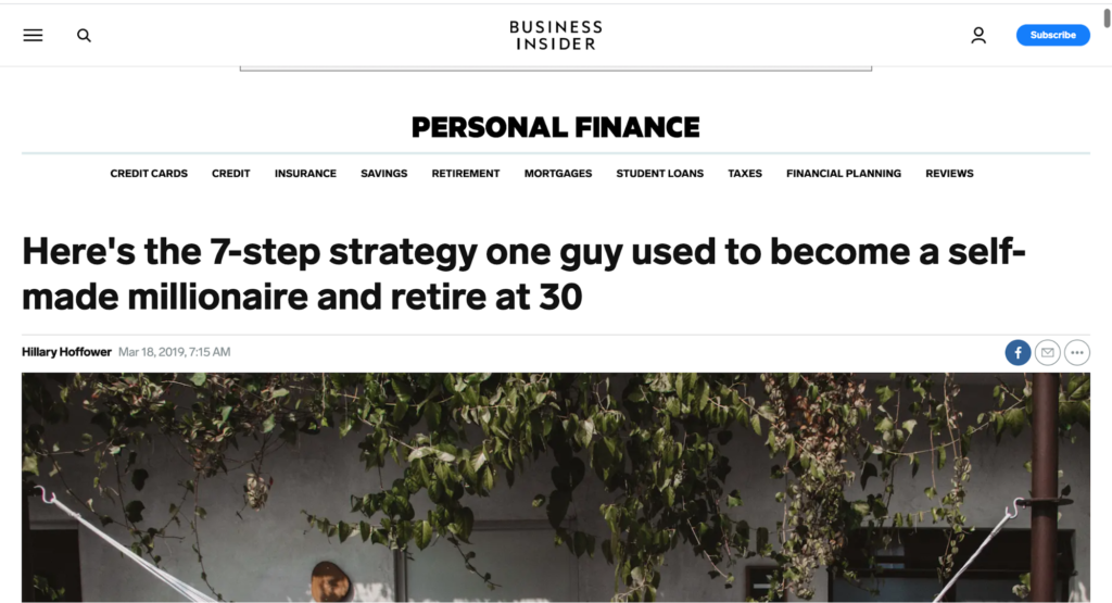advertorial on self-made millionaire.