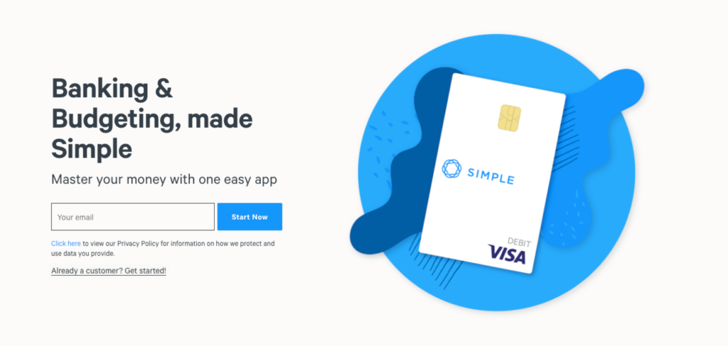 simple banking homepage.