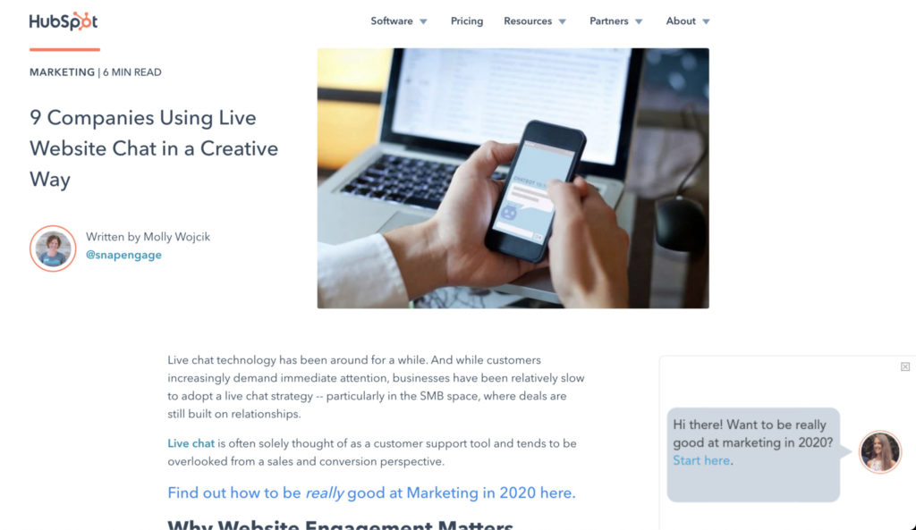 Screenshot of hubspot blog post, 9 companies using live website chat in a creative way.