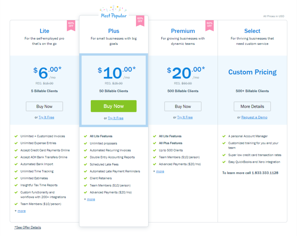example of low-to-high saas pricing page.