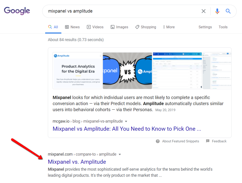 search result for which mixpanel owns space for a comparison query.