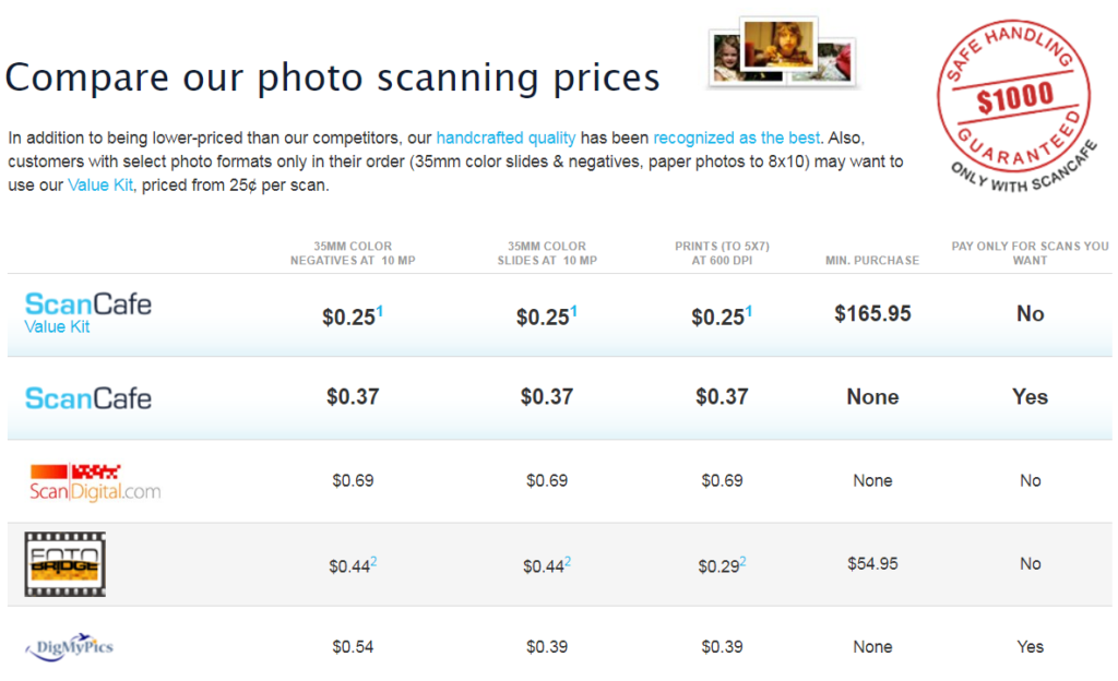pricing comparison page.