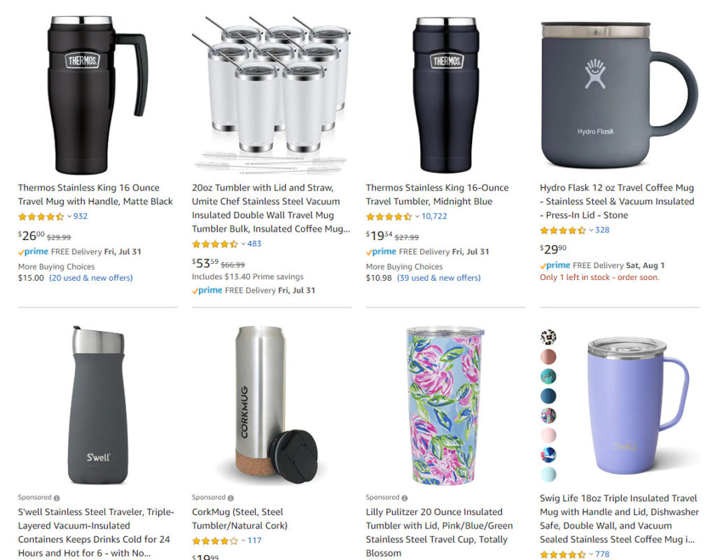 Image of mugs in Amazon search.