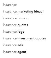 search suggestions on pinterest about insurance.