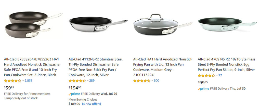All-Clad pans on Amazon.