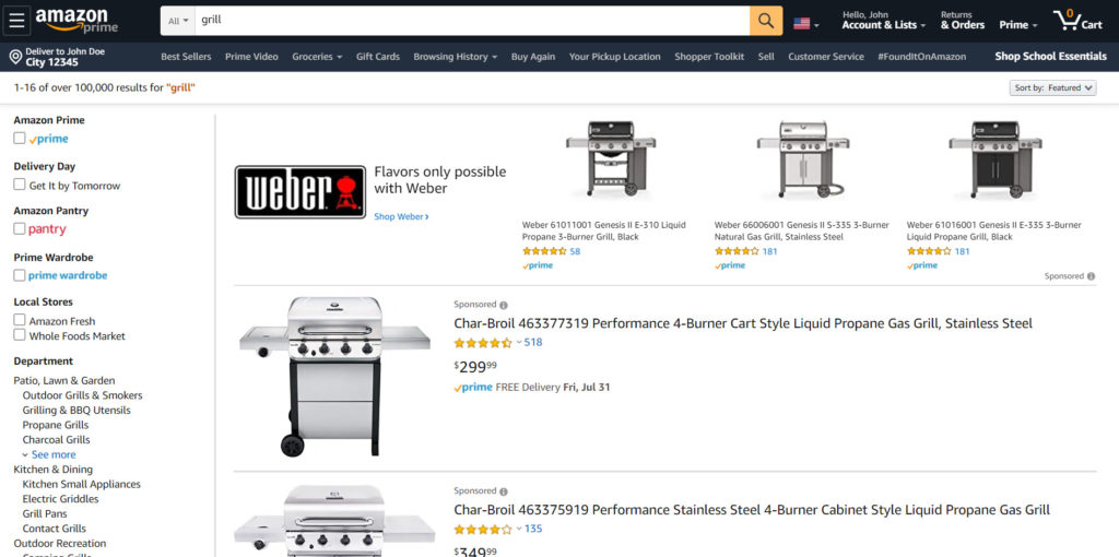 Grill search results when using Amazon.