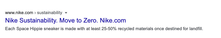 Image of Nike sustainability in Google search.