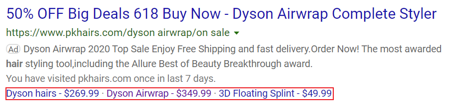 price extensions example bing ads.