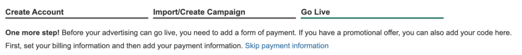 skip payment in microsoft ads setup.