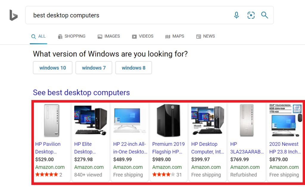 product ads on bing.