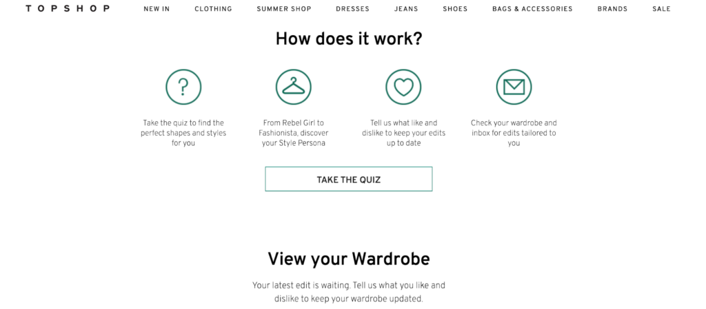 Image of top shop quiz page.