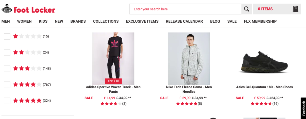 Image of Foot Locker store online.