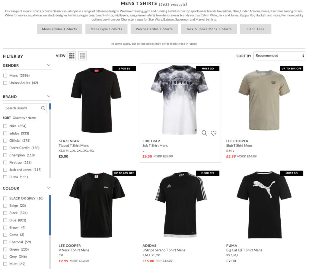 Image of shirts showing nudges in ecommerce.