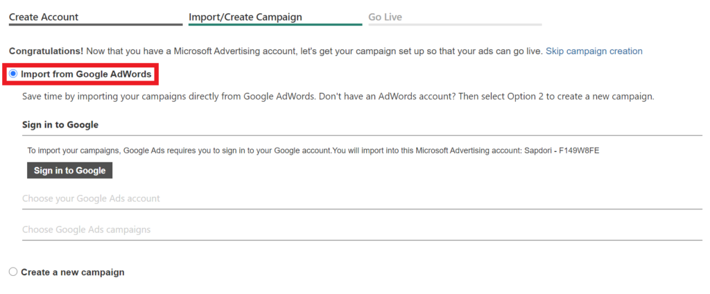 import google ads account into bing.