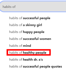 """habits of"" search suggestion on pinterest."