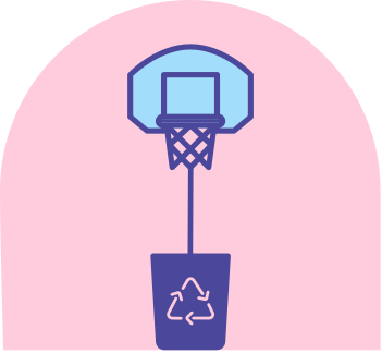 Image of basketball hoop over recycling bin.