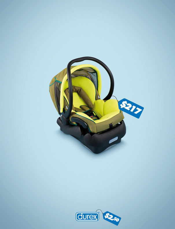 Durex ad of image of a car seat.