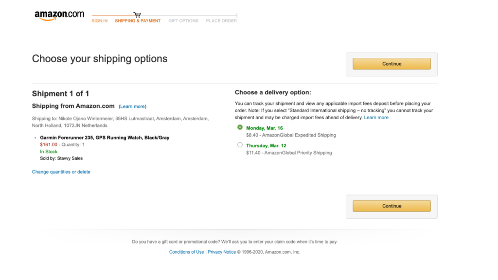 Image of Amazon shipping page