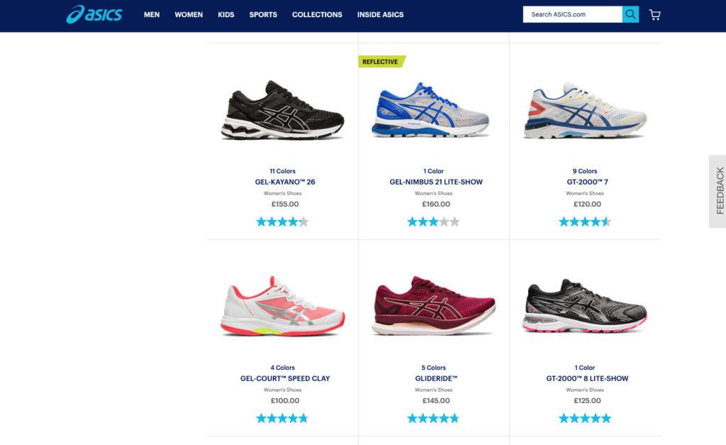 Image of Oasics store online.