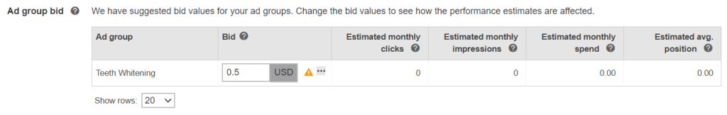 estimated clicks and spends based on bids in microsoft ads.