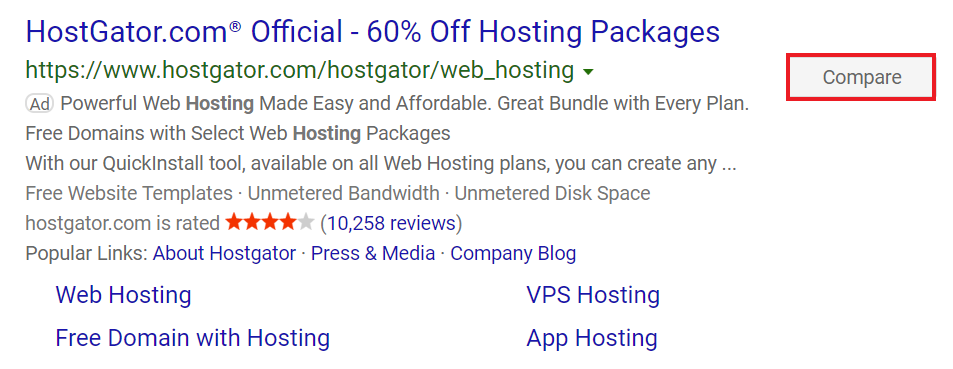 "example of ""compare"" button on bing ads."