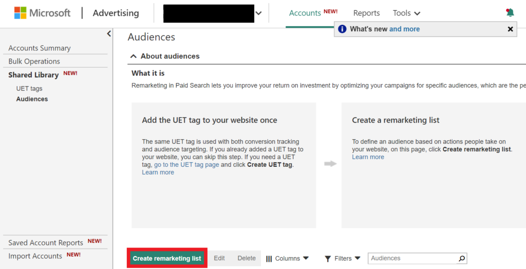 creating a remarketing list on microsoft ads.