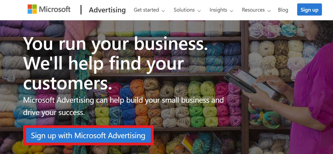 microsoft ads homepage.