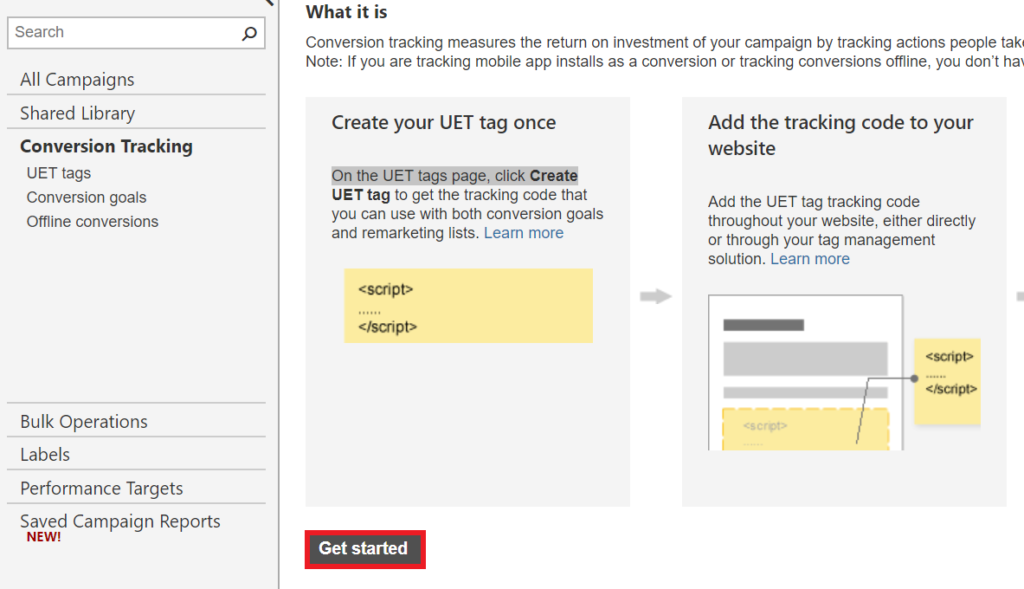 setting up uet tag with bing ads.