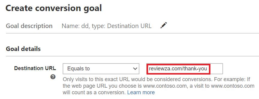 defining destination url in bing ads.