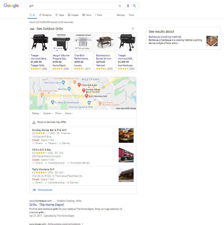 grill search result page on using Google.