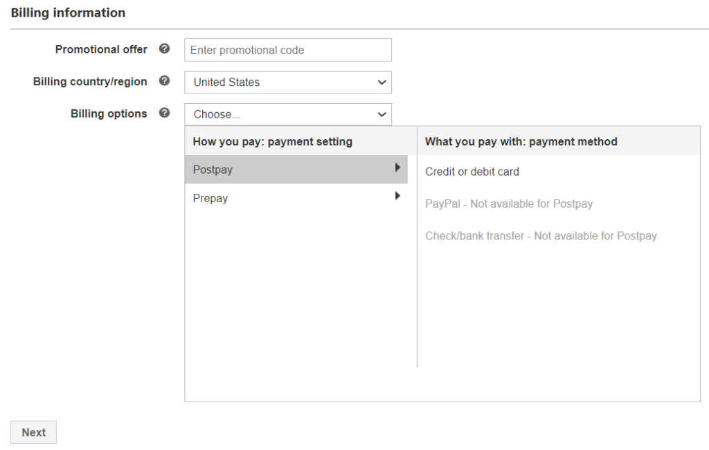 payment options selection screen in microsoft ads.