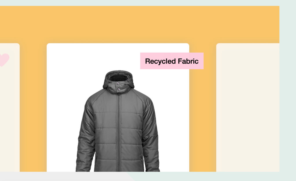 Image of jacket with recycled fabric nudge.