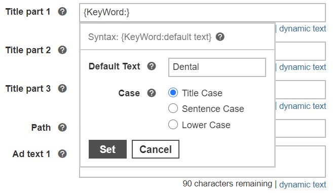 choosing default text for dynamic search ads.
