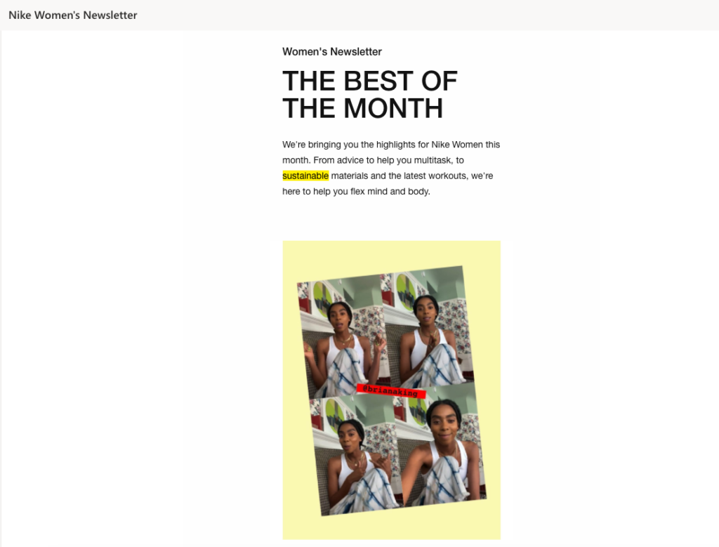 Image of the best of the month from Nike Women's Newsletter