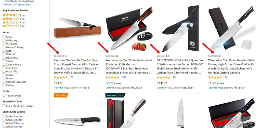 Image of cooking knifes in Amazon.