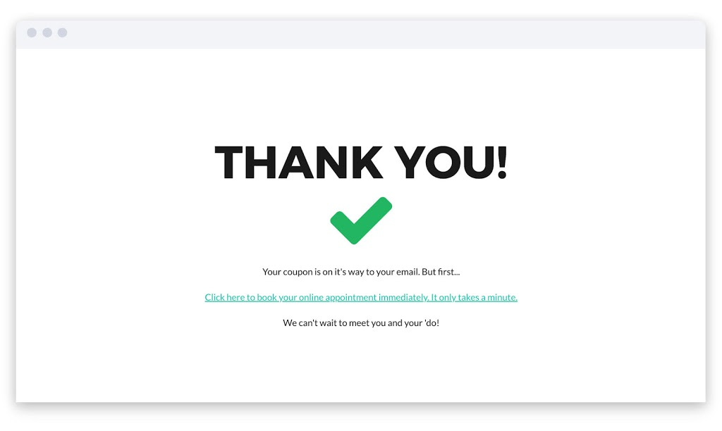Image of a thank you page.