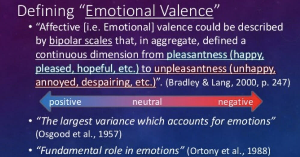 Emotional valence definition.